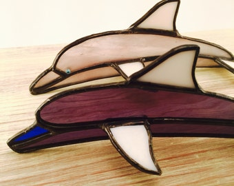 Stained glass dolphin/beach lover gifts/dolphin suncatcher/dolphin art/ocean art/ocean lover gifts