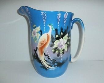 Antique Art Deco Pink White Peacock Porcelain Stoneware Pottery Water Pitcher Jug Birds Garden Evening Lancaster England