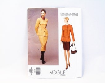 Geoffrey Beene Vogue Designers Sewing Pattern 2575 Misses' Jacket & Skirt 12-16