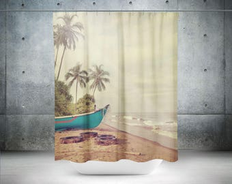 Coastal Shower Curtain | Beach Shower Curtain | Beach Theme Bath Curtain | Tropical Shower Curtain