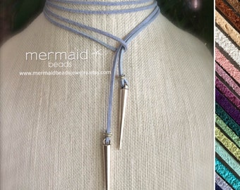 Blue Choker Leather Choker Lariat Tie Necklace Silver Spike Boho Leather Choker Gift for Her Long Modern Minimalist Bullet Dagger Necklace