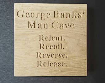 Personalised Oak Free Standing MAN CAVE sign Lady Cave Mancave, man retreat, hide out