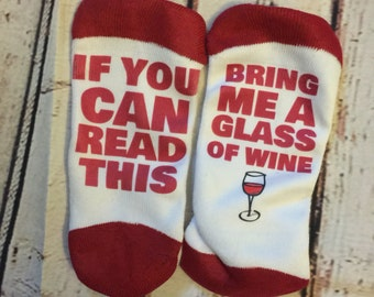 Bring Me Wine Socks (Socks will be white but heel color may vary- out of red heel)