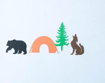 Camping Confetti, Coyote Confetti, Woodland Confetti, Bear, Tent, Pine Tree, Coyote, Party Confetti, Confetti, Bear Confetti, Woodland