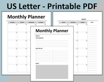 Monthly Planner Printable, Month-on-Two-Pages (MO2P) for 8.5 x 11 Planner, Letter Size Planner, Letter Size Inserts, INSTANT DOWNLOAD