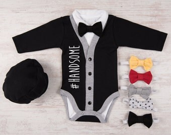 Baby Boy Gift, #HANDSOME Baby Boy Black Cardigan, Bodysuit, Hat & Bow Tie Set, Baby Boy Clothes, Handsome Baby Boy Outfit, Cool Baby Clothes