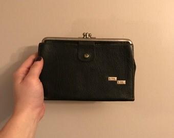 Vintage Wallet- Vintage DB Leather Kiss Lock Wallet
