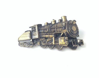 Brass Western Style Railroad Locomotive Engine Belt Buckle, The Great American Buckle Company
