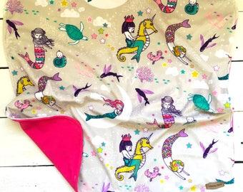 Mermaid Blanket, mermaid Crib Bedding, crib bedding, mini baby blanket, toddler blanket, pink Mermaid