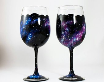 Hand Painted Galaxy Wine Glasses, Set of 2 - galaxy wine glass, space wine glass, celestial wine glass, outer space, Cosmos, nebula