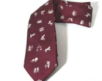 Haband Necktie,1960s Mens vintage Necktie,  Zodiac Necktie, Maroon Tie Polyester Astrology Horoscope