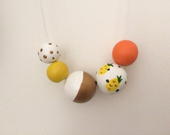 Wooden bead necklace // LIMITED EDITION // Pineapple Crush // Yellow, white orange and Gold // hand painted