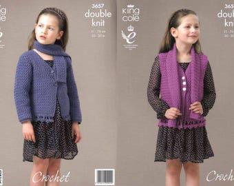 """King Cole Crochet Pattern 3657~Cardigan, Waistcoat & Scarf~DK~20-30"""""""