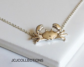 Silver Maryland Crab Necklace, Gold Crab Necklace