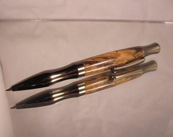 Turn gun metal pen. Spalted Hackberry wood.