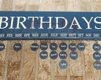 Family Birthday Board Wall Hanging, Birthday Board, Family Celebrations Board, Gift for Mother, Celebration Board, Family Gift