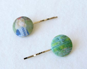 Fabric Button Hair Pins, French Vintage, Painting of Monet, Wedding Accessory, Gift for Girl, Bobby Pin, Handmade, Covered Button