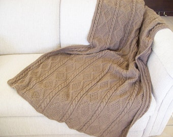 Cafe Latte Hand Knitted Throw