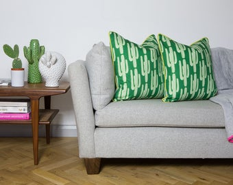 Cactus cushion with citrus yellow piping