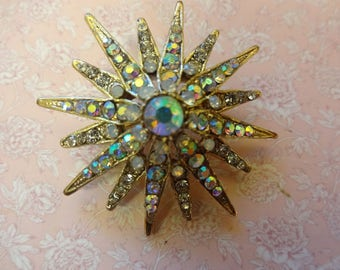Vintage Star Burst Brooch, Diamante Star Brooch, Star Brooch, Rhinestone Brooch, AB Crystal Star Brooch, Aurora Borealis Crystal Brooch,