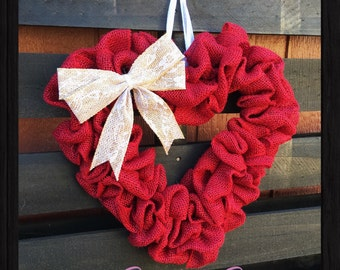 Valentines Heart Wreath- Red Heart Wreath- Mothers Day Wreath- Heart Wreath- Red Wreath- Valentines Gift- Mothers Day Gift- Gifts for her