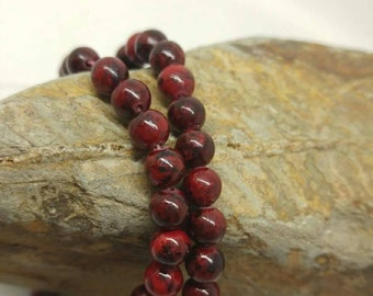 Poppy Jasper 6 mm round Beads  //  Rustic Earthy Red Tones // Natural gemstone Beads / Small beads / jewellery beads
