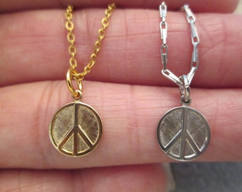 Original 1960's PEACE SIGN necklaces> Gold or Silver> Small & Dainty>> New old stock, never worn