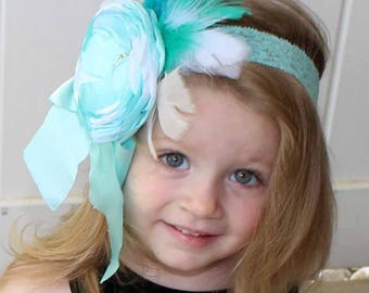 Aqua, Teal, Turquoise , Blue, Green and White Flower Couture  Headband , Satin Flower  Headband, Newborn, Infant, Baby, and Adult Headband