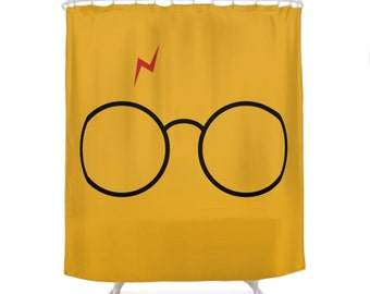 Harry Potter Shower Curtain, Children Bathroom, Geek Bath, Funny Curtains,  Yellow Decorations