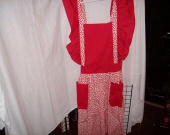 Red Cherry Print Bib Apron