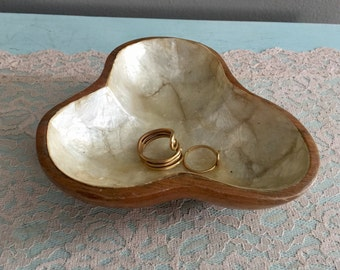 Hand crafted wooden trinket bowl lined with Mother of Pearl
