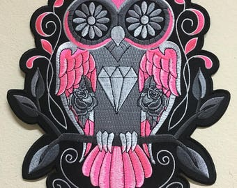 """Owl Sugar Skull Embroidered Iron on Large Back Patch for jackets, Jeans, vests, Backpack, Bikers 