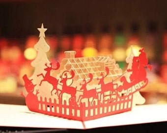Merry Christmas / Happy Holiday /Seasons Greetings /3D Pop Up Father Christmas /Santa Sleigh On A Roof Handmade Card
