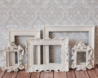 Wedding PHOTO DISPLAY - Small Picture Frames - Shabby Chic Wedding - Nursery - Home - Glass & Backing