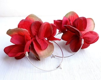 Red Petal Earrings, Dark Red Rose Color Hoop Earrings / Beads Silver Tone  Nickel Free