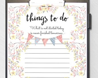 Beautiful Floral 'things to do' Printable To Do list - Instant Download