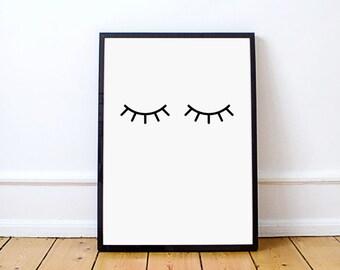 Impression de cils, cils imprimables, Scandinave Wall Art, Art de mur de chambre à coucher, Impression d'Affiche, Clin d'oeil, Cils noirs