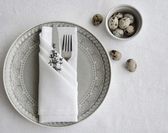 """Serviettes de table en lin-blanc couleur serviettes - set de 6-taille 18 """"x 18» - mariage serviettes de table-divertissement table décor-bébé douche serviettes de table - linge de table"""