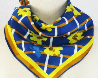 Vera Scarf - 60s Blue and Yellow Plaid Scarf - Vintage Graphic Mod Floral 1960s Scarf