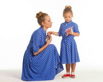Robes assorties de coton assorti mère fille, différentes couleurs Midi maman et moi polka dots tenue robe pour la mère et fille
