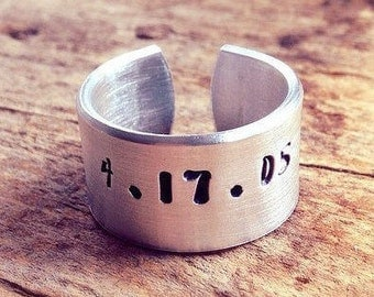 Men's Personalized Ring, Hand Stamped Ring, Custom Ring, Cuff Ring Band, Adjustable Ring, Aluminum Ring, Bohemian Ring
