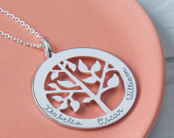 Women's Personalized Necklace Tree of Life Large Pendant - Merci Maman Jewellery Gift for mummy, grandmother, Family Tree of Love, keepsake