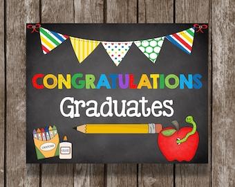 50% OFF SALE Graduation Sign - Poster - Picture - Photo Prop - Kindergarten - Preschool - PreK - Decorations - Printable