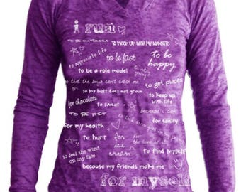 I Run...For Myself Women's Longsleeve Burnout Hoodie