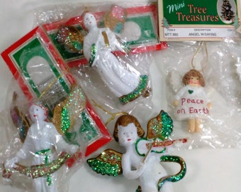 """Collection of 5 White Angels Ornaments/Craft From 2- 3.25"""" High/Some With Sayings/Some With Sparkles/One Playing a Violin/ All But One New C"""