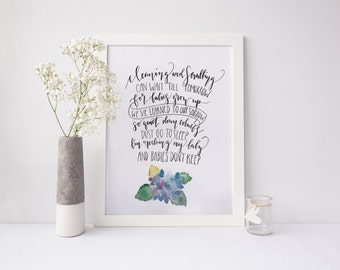 Watercolor Quote Painting/ Poem Art/ Nursery Rhyme Art/ Song for a 5th Child Print/ Quiet down Cobwebs 8x10