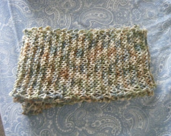 Amazing Long Handmade Knit Scarf - Earthy Light Camo - Perfect for Gifting!!