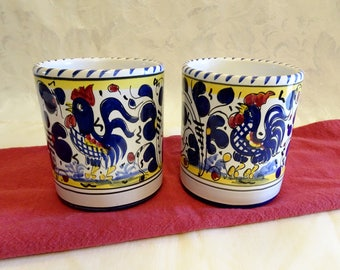 Pair of Fima Deruta Italy Hand Painted Pottery Rooster Mugs