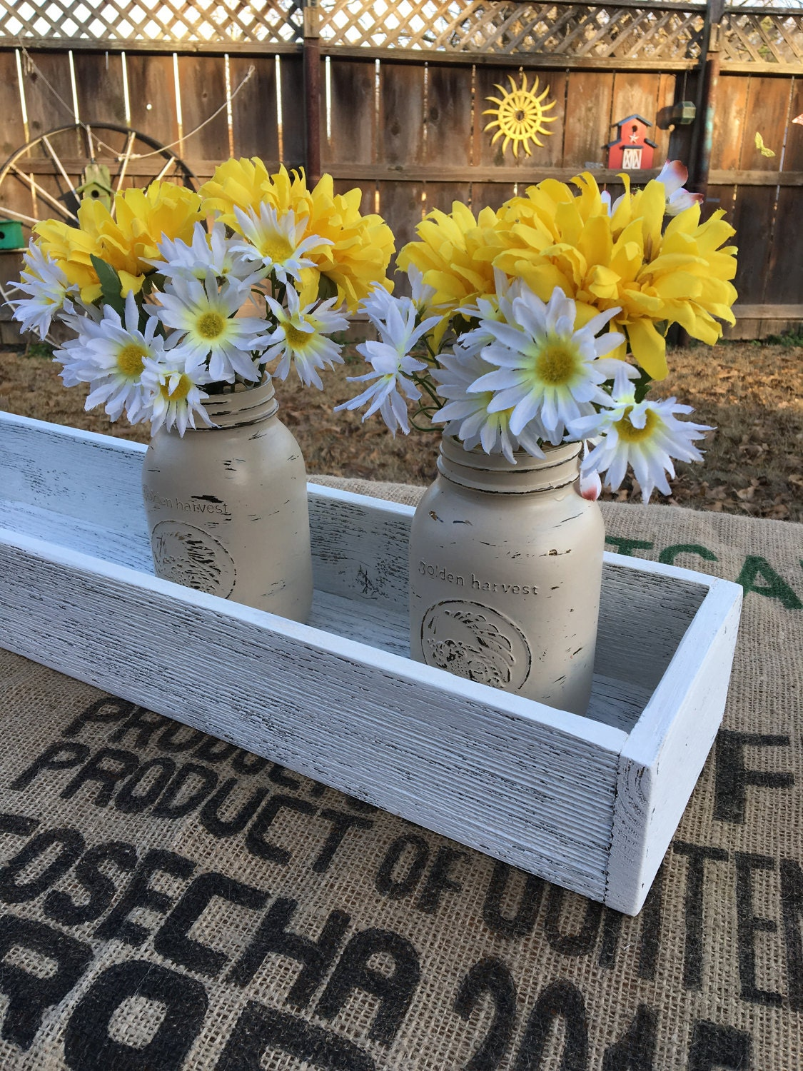 Rustic pallet wood box centerpiece holiday or wedding
