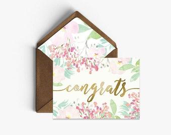 Congrats Real Foil Card + Kraft Envelopes --- C001